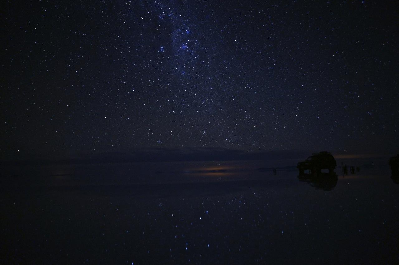 星とウユニ塩湖遺跡の壁紙