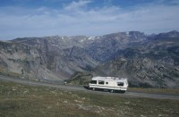 Motorhome, Beartooth Scenic Highway, Beartooth Mtns., Wyoming