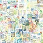 これはアートの域!世界一周したパスポートの全ページを1つにした画像