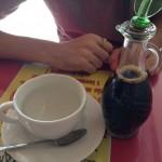 ペルーでコーヒーを頼んだら巨大な醤油が出てきた